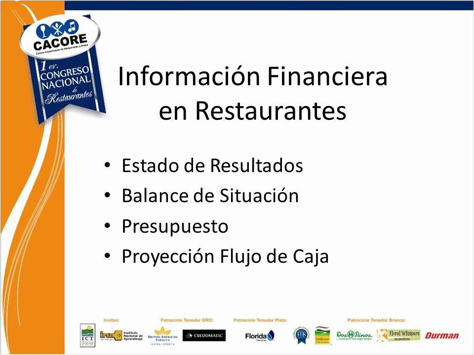 Información Financiera en Restaurantes Estado de Resultados Balance de Situación Presupuesto Proyección Flujo de Caja