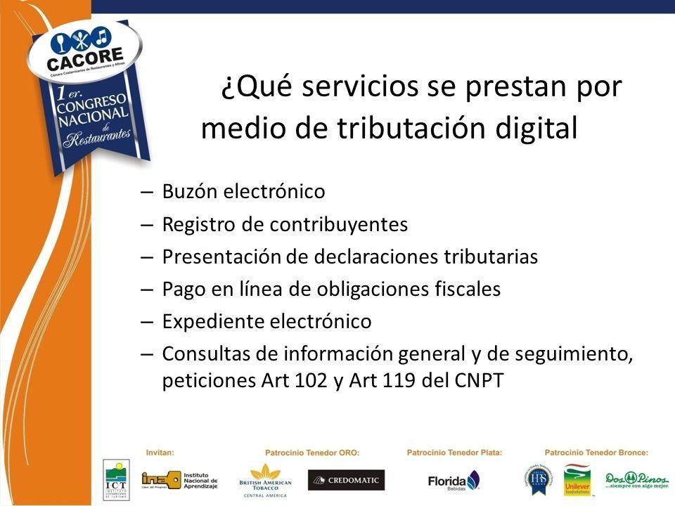 ¿Qué servicios se prestan por medio de tributación digital – Buzón electrónico – Registro de contribuyentes – Presentación de declaraciones tributaria