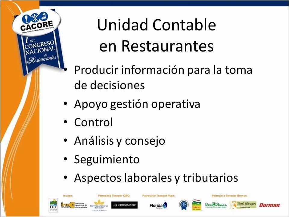Unidad Contable en Restaurantes Producir información para la toma de decisiones Apoyo gestión operativa Control Análisis y consejo Seguimiento Aspecto
