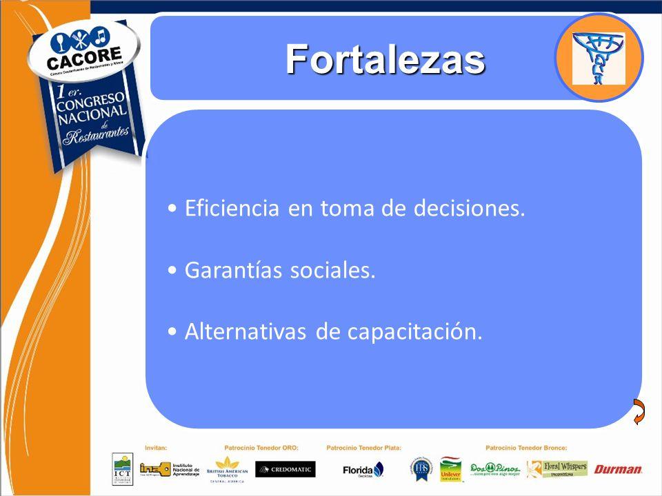 Análisis FODA Responsabilidad Social Empresarial y Regulaciones Fortalezas Eficiencia en toma de decisiones. Garantías sociales. Alternativas de capac