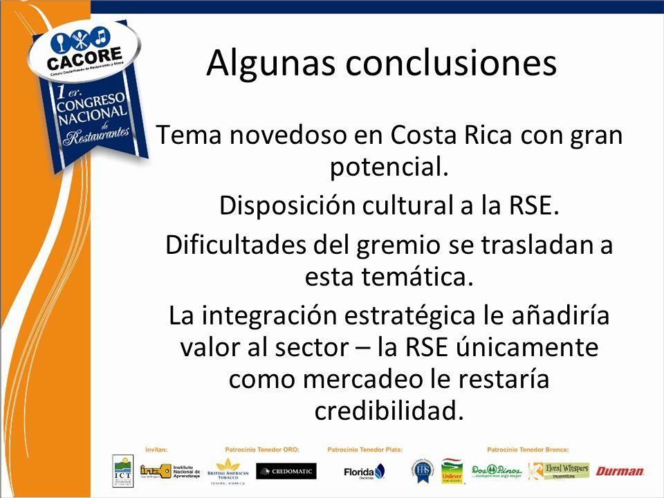 Análisis FODA Responsabilidad Social Empresarial y Regulaciones Algunas conclusiones Tema novedoso en Costa Rica con gran potencial. Disposición cultu