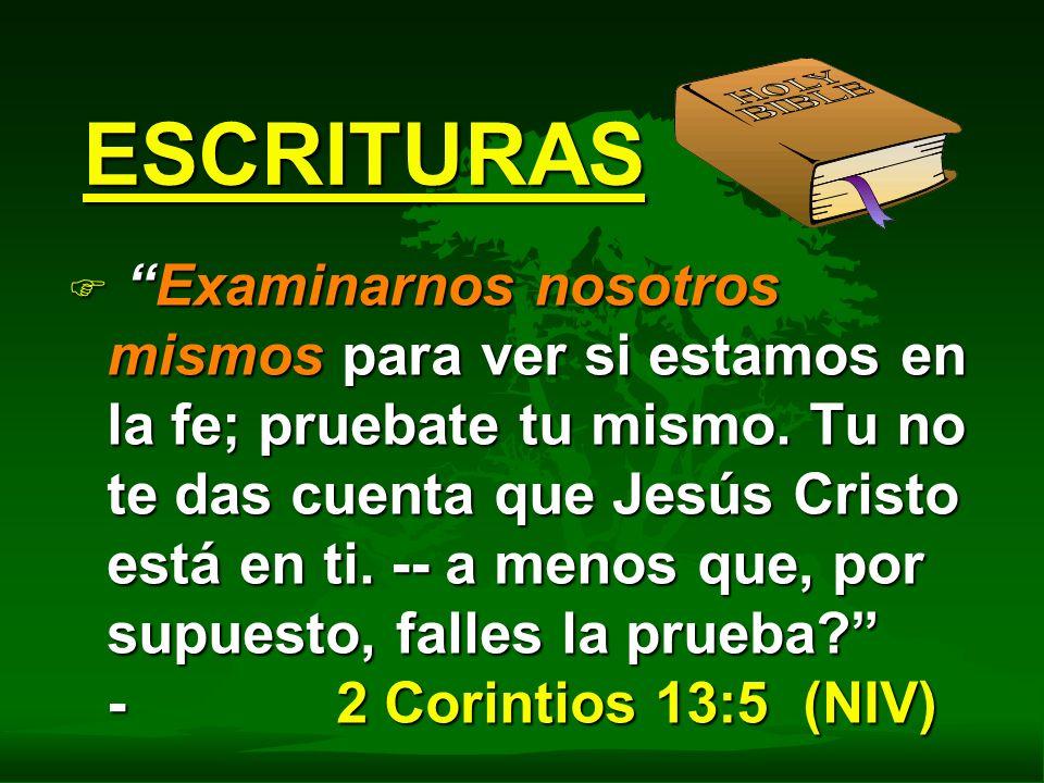 ESCRITURAS F Examinarnos nosotros mismos para ver si estamos en la fe; pruebate tu mismo. Tu no te das cuenta que Jesús Cristo está en ti. -- a menos
