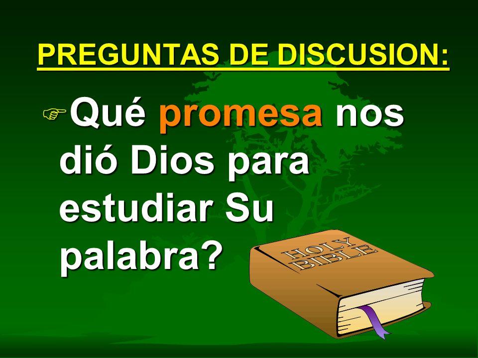 F Qué promesa nos dió Dios para estudiar Su palabra? PREGUNTAS DE DISCUSION: