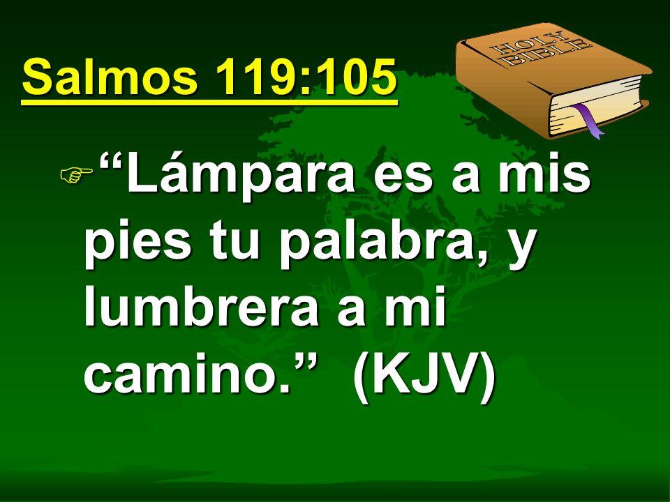 Salmos 119:105 F Lámpara es a mis pies tu palabra, y lumbrera a mi camino. (KJV)