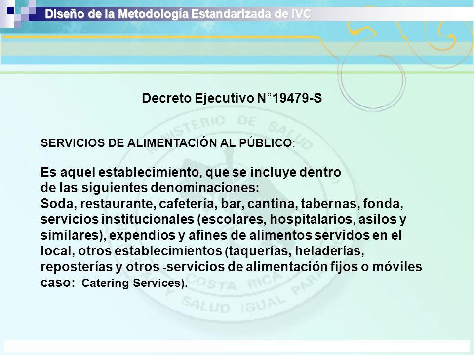 Decreto Ejecutivo N°19479-S SERVICIOS DE ALIMENTACIÓN AL PÚBLICO: Es aquel establecimiento, que se incluye dentro de las siguientes denominaciones: So