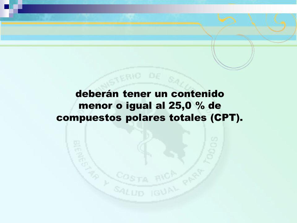 deberán tener un contenido menor o igual al 25,0 % de compuestos polares totales (CPT).