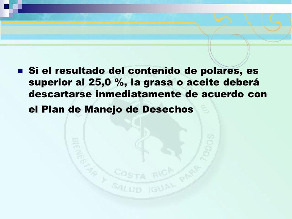 Si el resultado del contenido de polares, es superior al 25,0 %, la grasa o aceite deberá descartarse inmediatamente de acuerdo con el Plan de Manejo