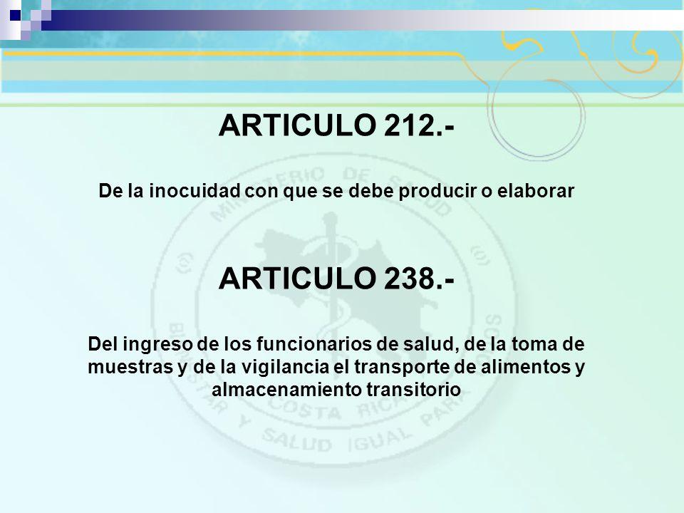 ARTICULO 212.- De la inocuidad con que se debe producir o elaborar ARTICULO 238.- Del ingreso de los funcionarios de salud, de la toma de muestras y d
