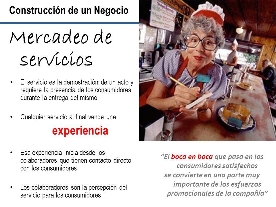 El servicio es la demostración de un acto y requiere la presencia de los consumidores durante la entrega del mismo Cualquier servicio al final vende u