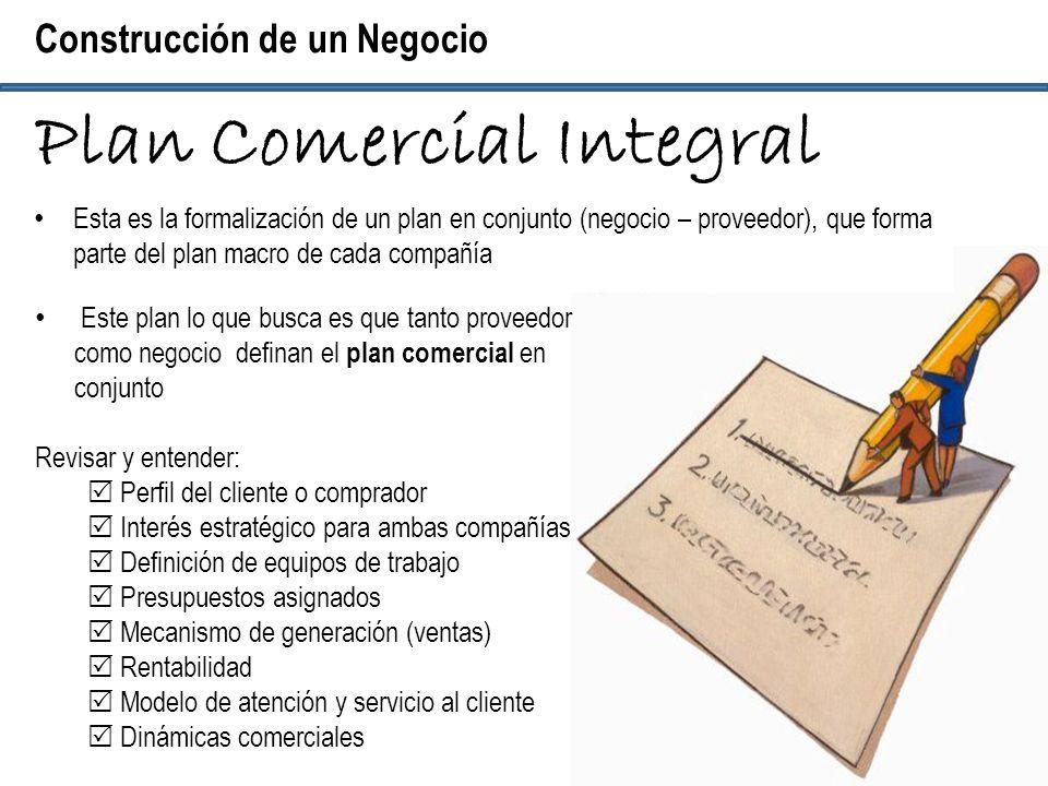 Esta es la formalización de un plan en conjunto (negocio – proveedor), que forma parte del plan macro de cada compañía Construcción de un Negocio Plan
