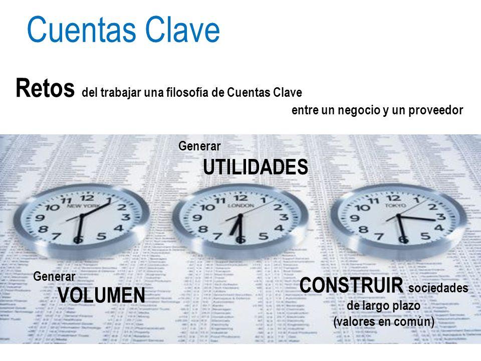 Generar VOLUMEN Retos del trabajar una filosofía de Cuentas Clave entre un negocio y un proveedor Cuentas Clave Generar UTILIDADES CONSTRUIR sociedade