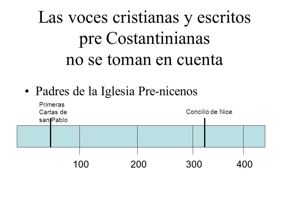 Las voces cristianas y escritos pre Costantinianas no se toman en cuenta Padres de la Iglesia Pre-nicenos 100200300400 Concilio de Nice Primeras Carta