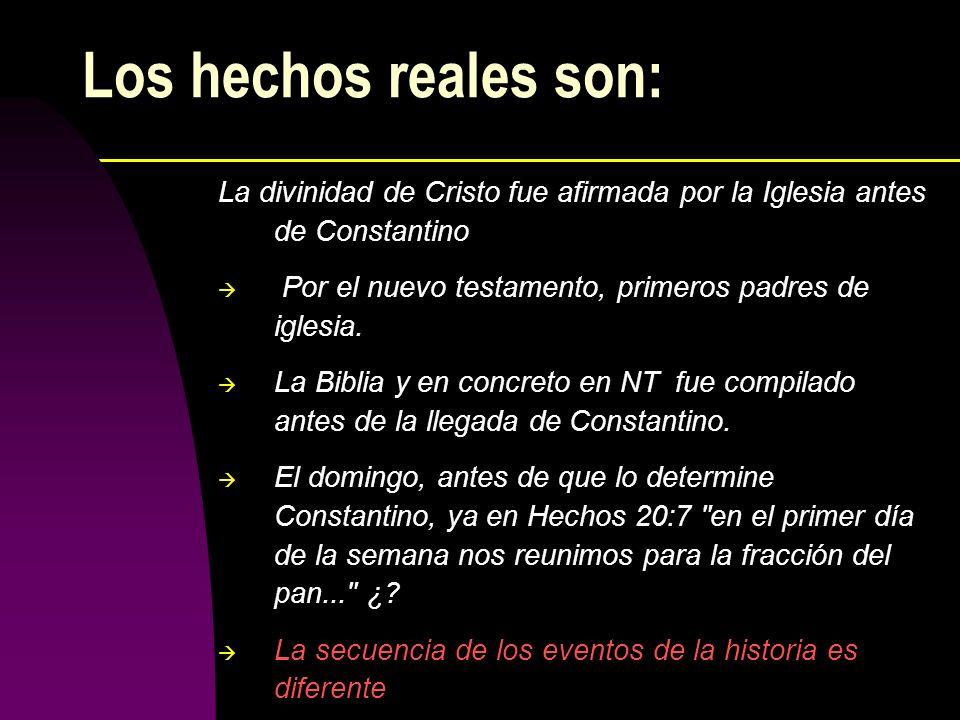 Los hechos reales son: La divinidad de Cristo fue afirmada por la Iglesia antes de Constantino Por el nuevo testamento, primeros padres de iglesia. La