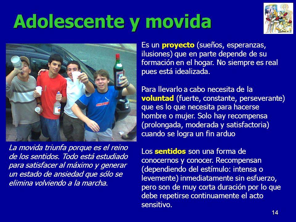 14 Adolescente y movida Es un proyecto (sueños, esperanzas, ilusiones) que en parte depende de su formación en el hogar. No siempre es real pues está
