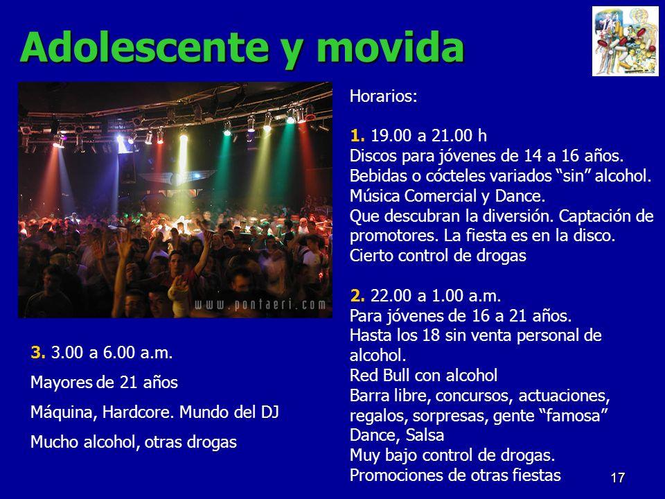 17 Adolescente y movida Horarios: 1. 19.00 a 21.00 h Discos para jóvenes de 14 a 16 años. Bebidas o cócteles variados sin alcohol. Música Comercial y