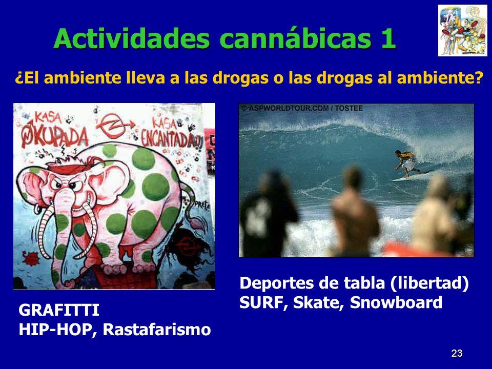 23 Actividades cannábicas 1 GRAFITTI HIP-HOP, Rastafarismo Deportes de tabla (libertad) SURF, Skate, Snowboard ¿El ambiente lleva a las drogas o las d