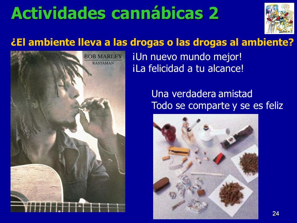 24 Actividades cannábicas 2 ¿El ambiente lleva a las drogas o las drogas al ambiente? ¡Un nuevo mundo mejor! ¡La felicidad a tu alcance! Una verdadera