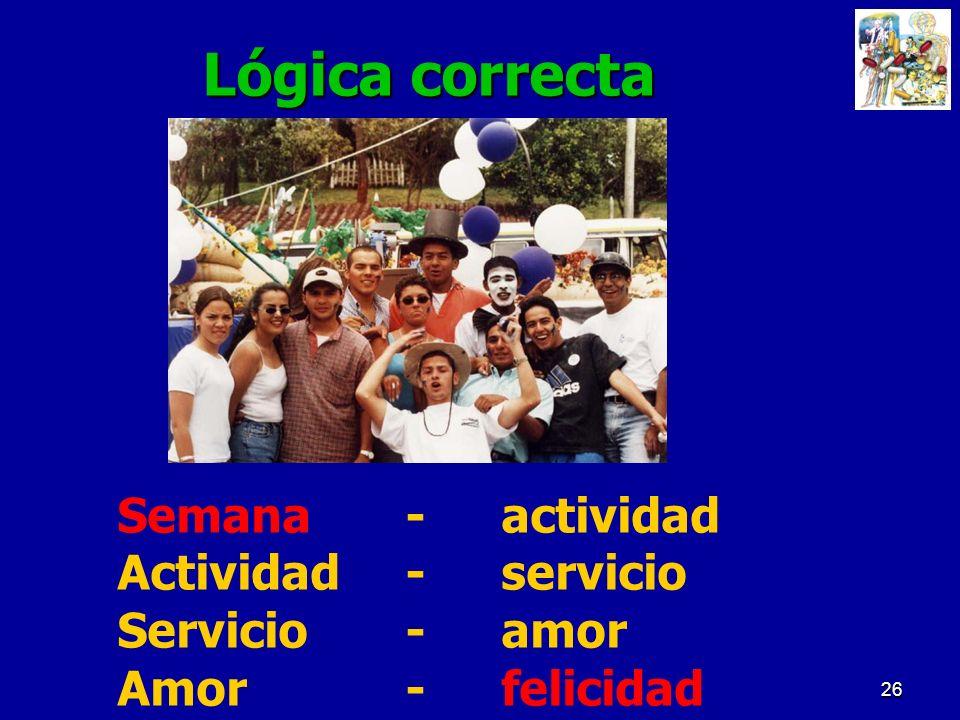 26 Lógica correcta Semana-actividad Actividad-servicio Servicio-amor Amor- felicidad