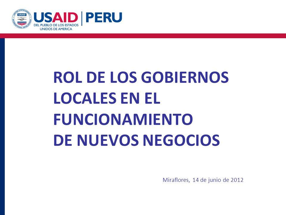 ROL DE LOS GOBIERNOS LOCALES EN EL FUNCIONAMIENTO DE NUEVOS NEGOCIOS Miraflores, 14 de junio de 2012