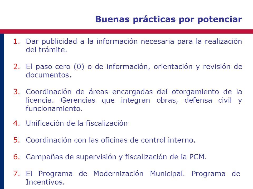 Buenas prácticas por potenciar 1.Dar publicidad a la información necesaria para la realización del trámite. 2.El paso cero (0) o de información, orien