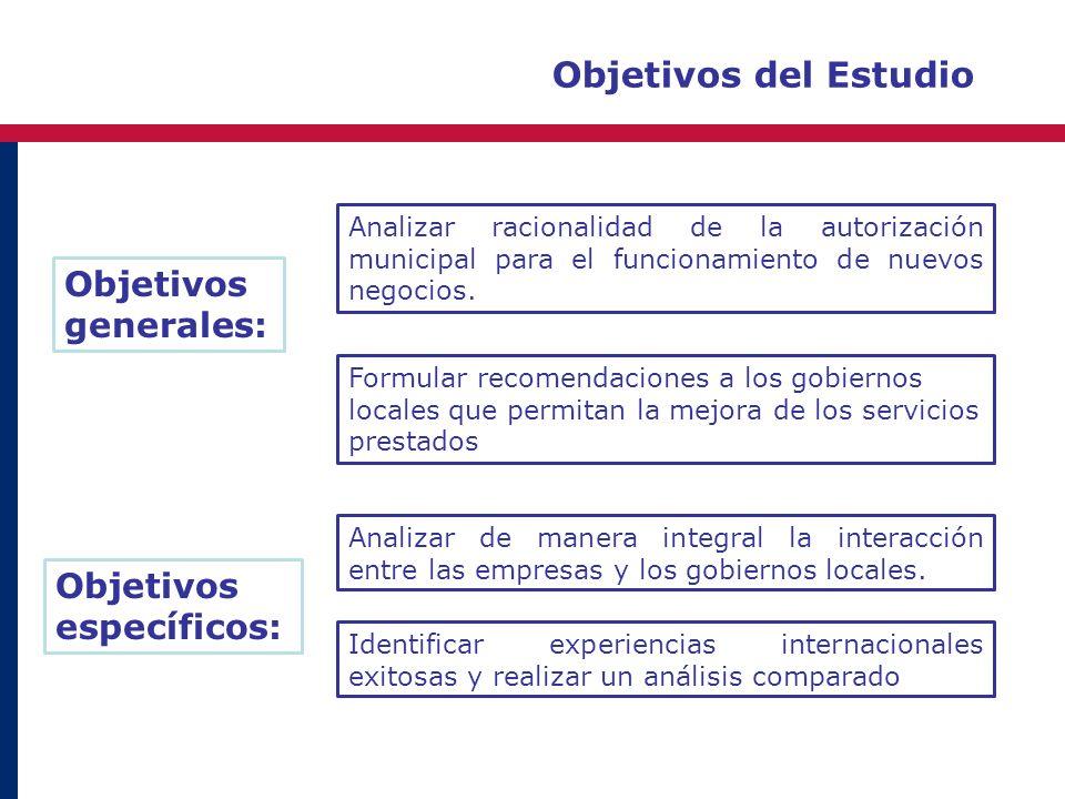 Objetivos del Estudio Objetivos generales: Analizar racionalidad de la autorización municipal para el funcionamiento de nuevos negocios. Analizar de m