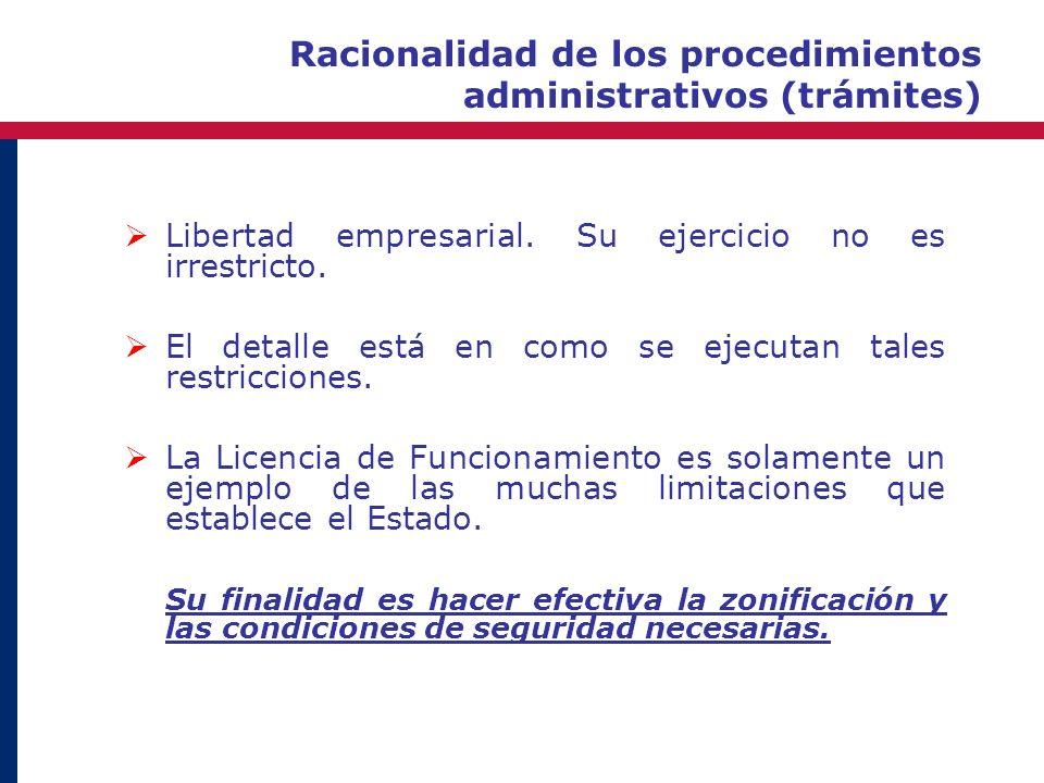 Racionalidad de los procedimientos administrativos (trámites) Libertad empresarial. Su ejercicio no es irrestricto. El detalle está en como se ejecuta