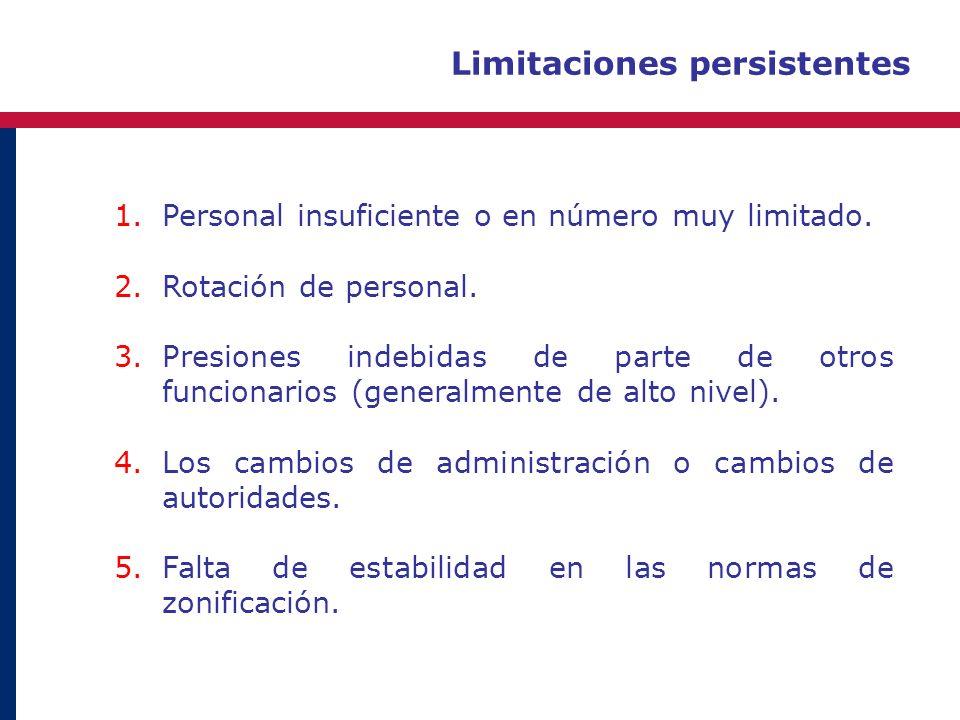 Limitaciones persistentes 1.Personal insuficiente o en número muy limitado. 2.Rotación de personal. 3.Presiones indebidas de parte de otros funcionari