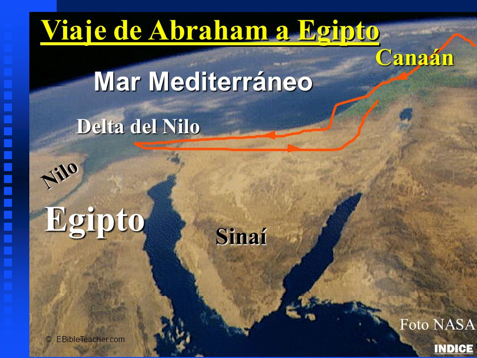 Egipto Nilo Delta del Nilo Mar Mediterráneo Foto NASA Sinaí Canaán © EBibleTeacher.com Viaje de Abraham a Egipto Abrahams Journey to Egypt INDICE