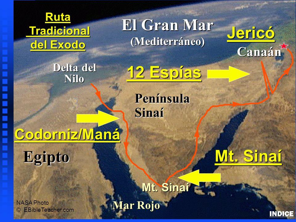 Egipto Delta del Nilo Nilo El Gran Mar (Mediterráneo) Mar Rojo PenínsulaSinaí Canaán Ruta Tradicional Tradicional del Exodo NASA Photo © EBibleTeacher