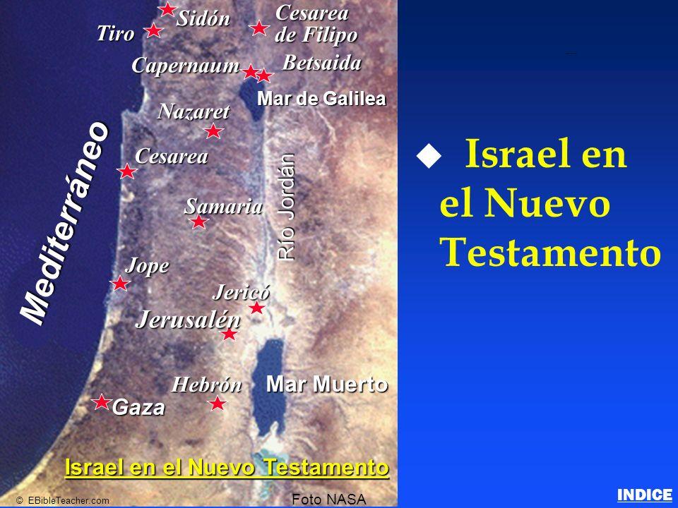 u u Israel en el Nuevo Testamento Betsaida Nazaret Cesarea Samaria Jope Jericó Jerusalén Hebrón Gaza Mar de Galilea Mar Muerto Río Jordán Mediterráneo