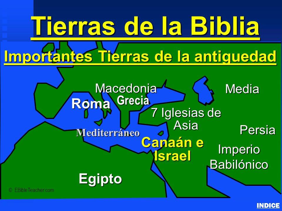 Tierras de la Biblia Important Ancient Lands INDICE © EBibleTeacher.com Roma Macedonia Imperio Babilónico Canaán e Israel Egipto Persia Mediterráneo I