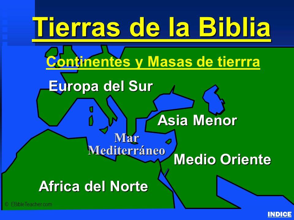 Tierras de la Biblia Continents & Land Masses INDICE © EBibleTeacher.com Europa del Sur Medio Oriente Asia Menor Africa del Norte Mar Mediterráneo Con