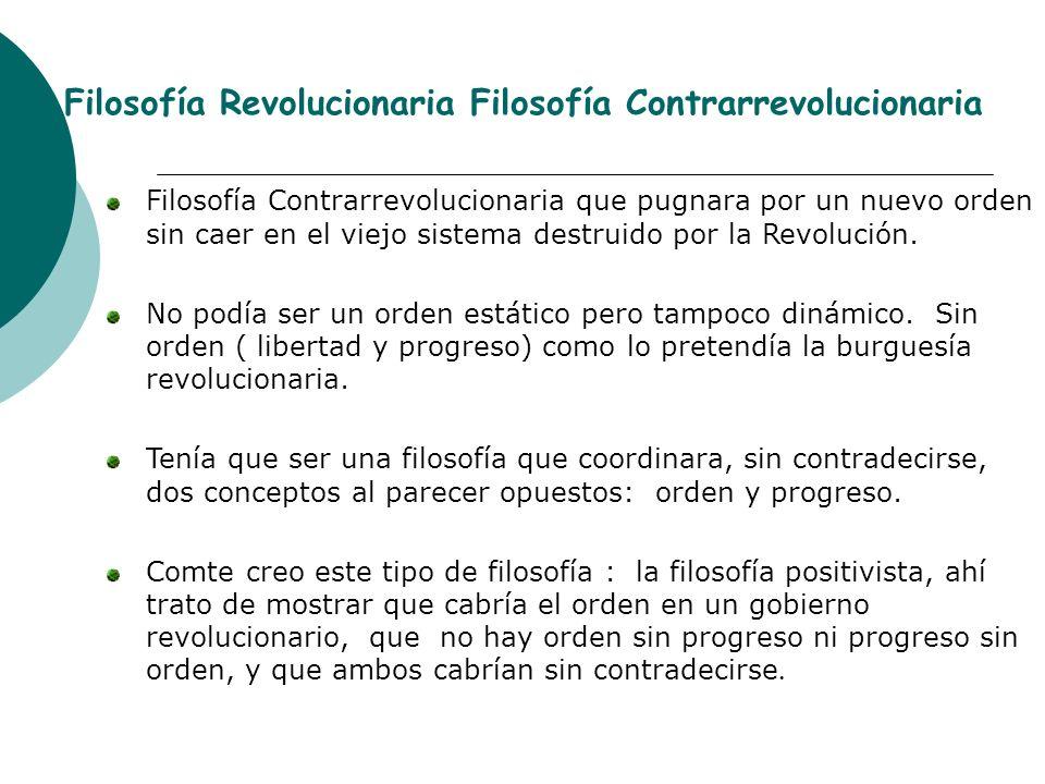 Filosofía Revolucionaria Filosofía Contrarrevolucionaria Filosofía Contrarrevolucionaria que pugnara por un nuevo orden sin caer en el viejo sistema d