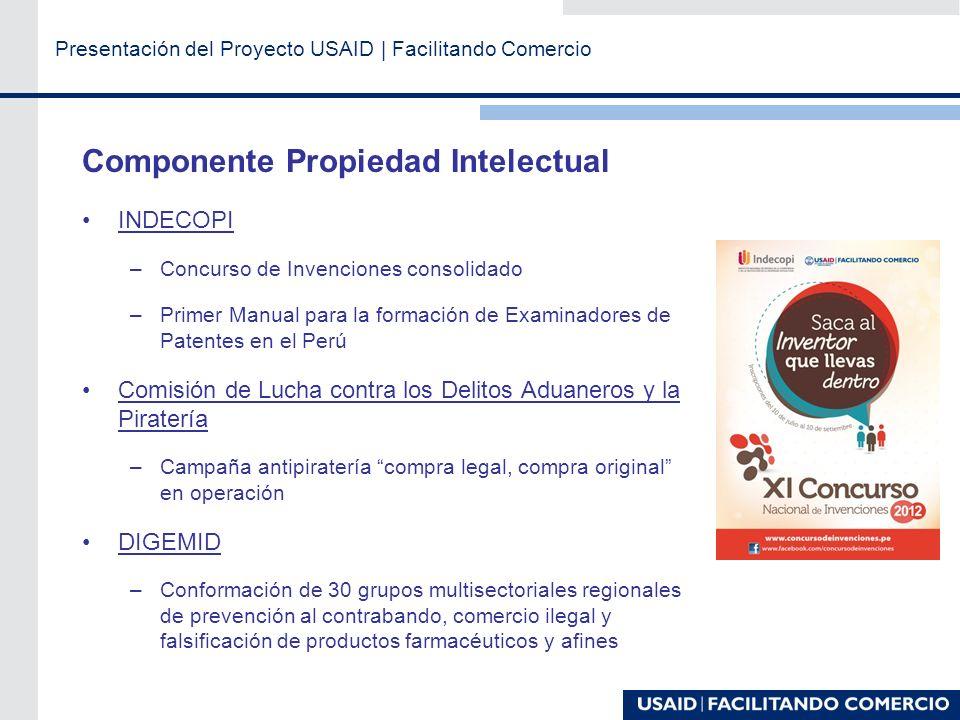 Presentación del Proyecto USAID   Facilitando Comercio Componente Facilitación de Comercio VUCE –Se optimizaron 20 procedimientos de DIGESA MINCETUR –Dos Manuales de Reglas de Origen en el APC con EE.UU.