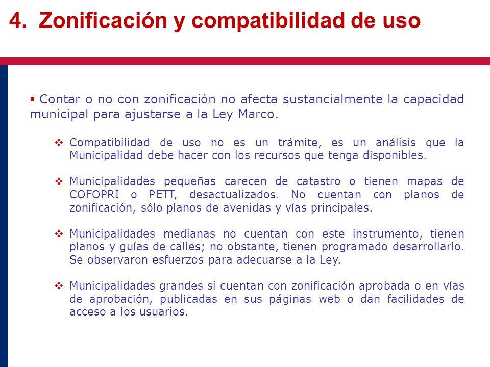 4. Zonificación y compatibilidad de uso Contar o no con zonificación no afecta sustancialmente la capacidad municipal para ajustarse a la Ley Marco. C
