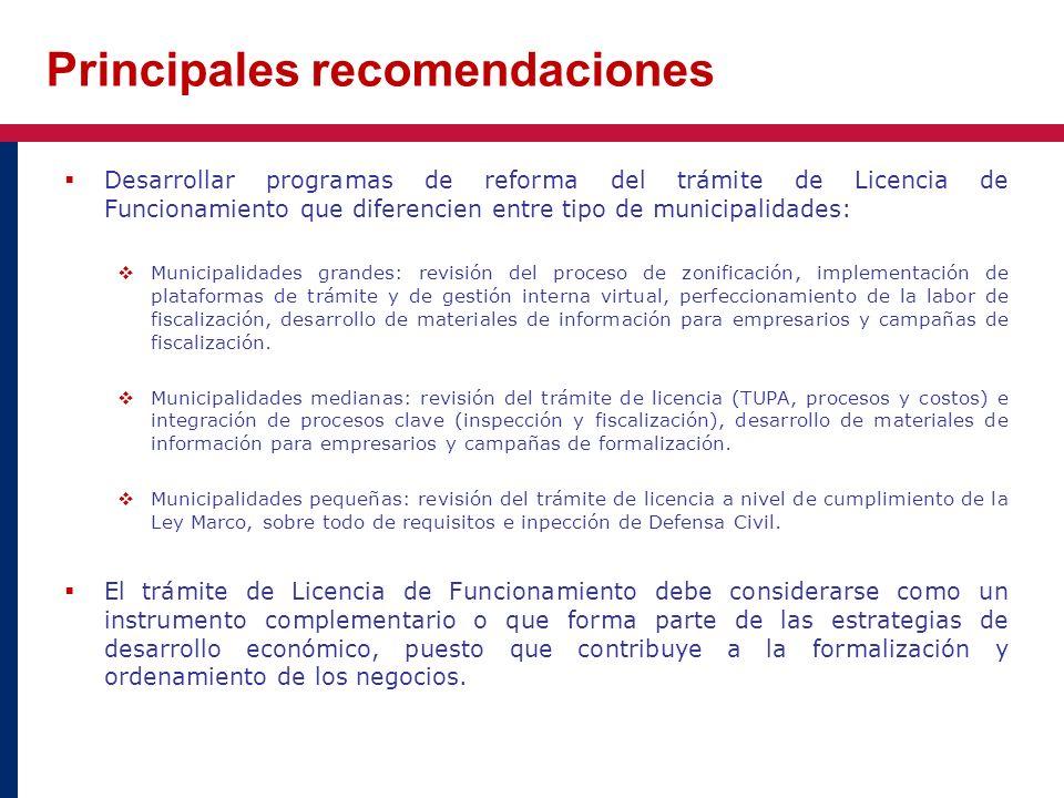 Desarrollar programas de reforma del trámite de Licencia de Funcionamiento que diferencien entre tipo de municipalidades: Municipalidades grandes: rev