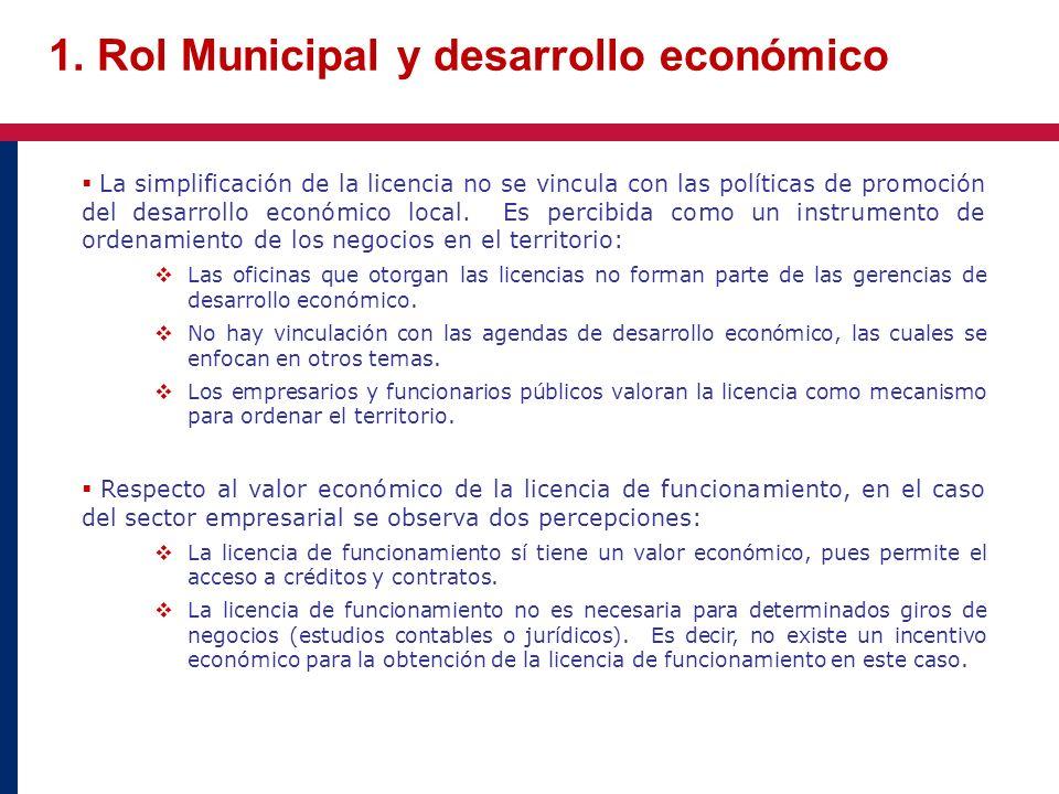 1. Rol Municipal y desarrollo económico La simplificación de la licencia no se vincula con las políticas de promoción del desarrollo económico local.
