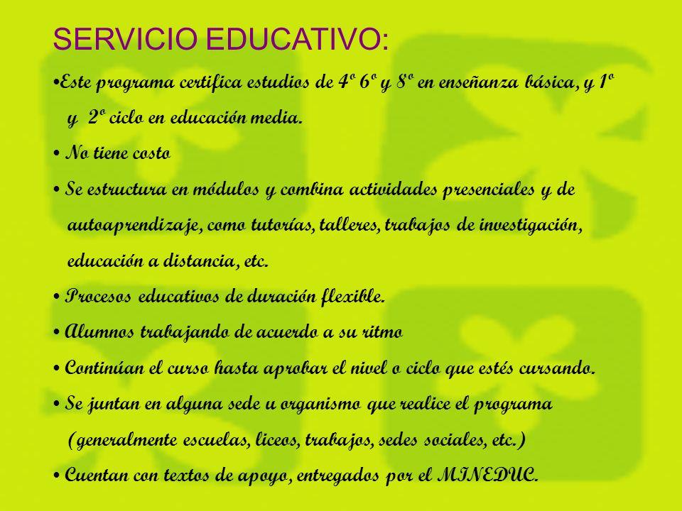 REQUISITOS: Para Educación Básica: Mínimo 15 años de edad Acreditar 4º básico para 5º y 6º básico; para 7º y 8º básico, acreditar 6º básico.