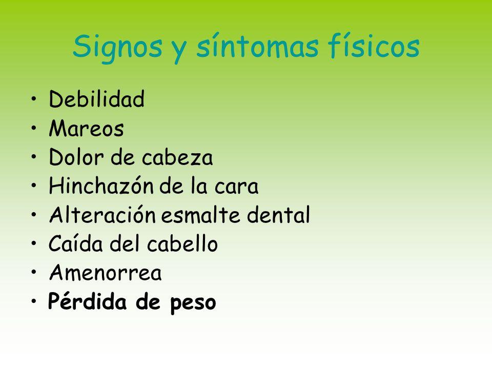 Signos y síntomas físicos Debilidad Mareos Dolor de cabeza Hinchazón de la cara Alteración esmalte dental Caída del cabello Amenorrea Pérdida de peso