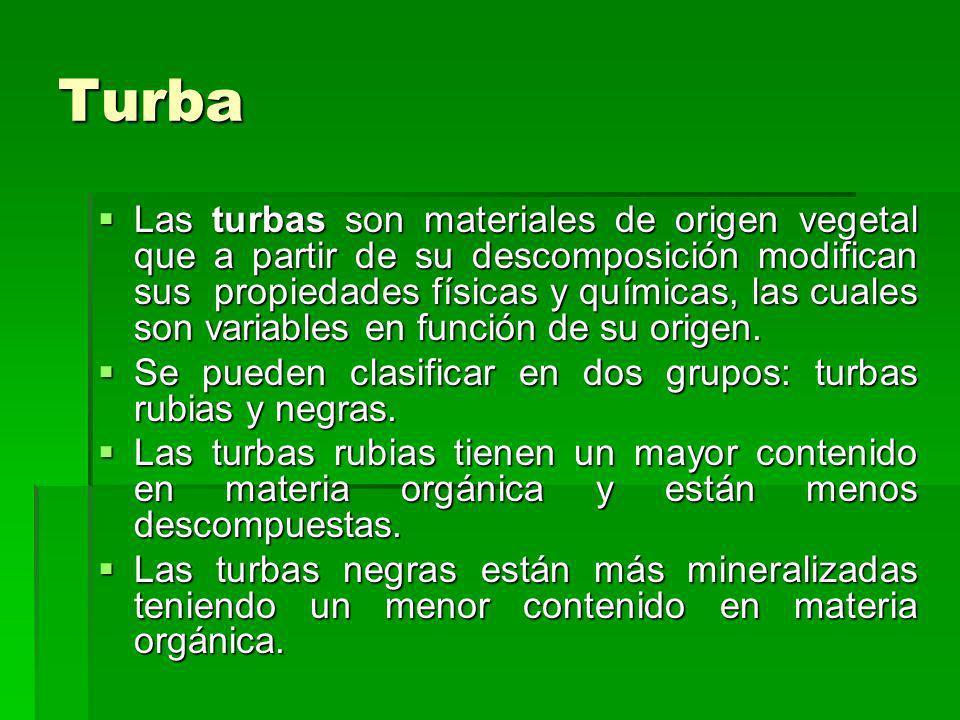Turba Las turbas son materiales de origen vegetal que a partir de su descomposición modifican sus propiedades físicas y químicas, las cuales son varia