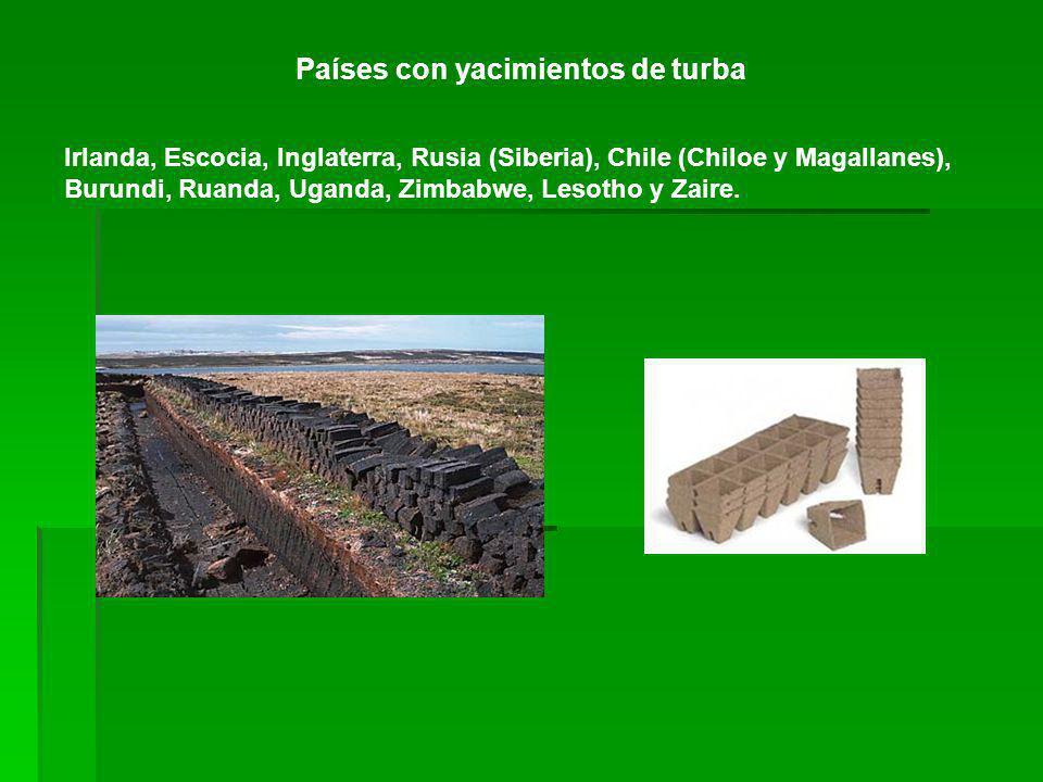 Países con yacimientos de turba Irlanda, Escocia, Inglaterra, Rusia (Siberia), Chile (Chiloe y Magallanes), Burundi, Ruanda, Uganda, Zimbabwe, Lesotho