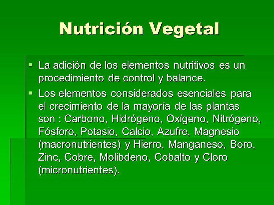 Nutrición Vegetal La adición de los elementos nutritivos es un procedimiento de control y balance. La adición de los elementos nutritivos es un proced