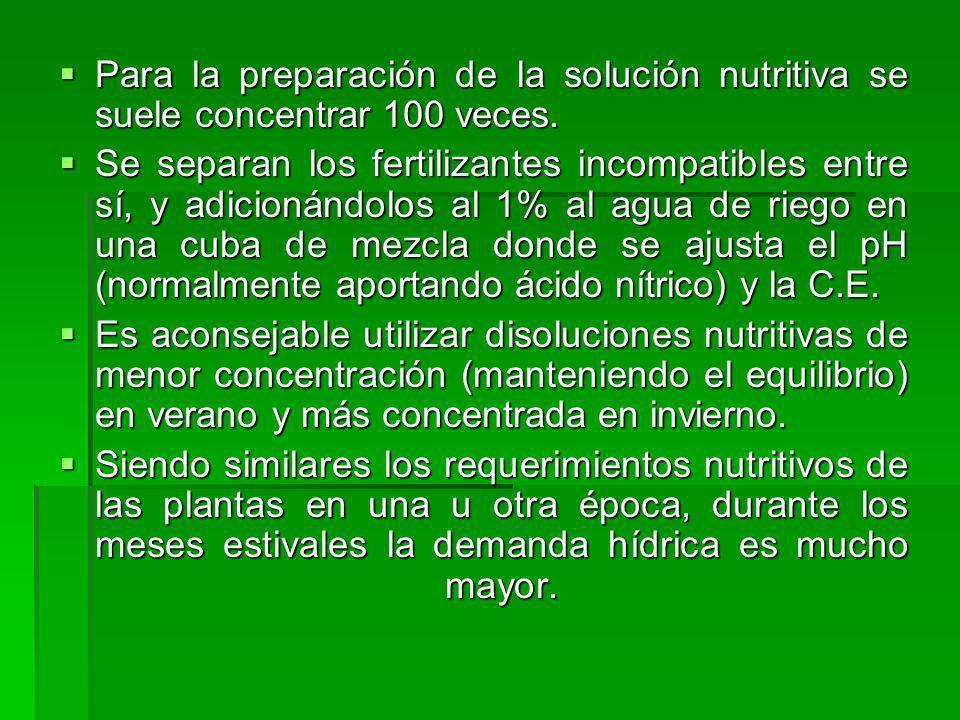 Para la preparación de la solución nutritiva se suele concentrar 100 veces. Para la preparación de la solución nutritiva se suele concentrar 100 veces