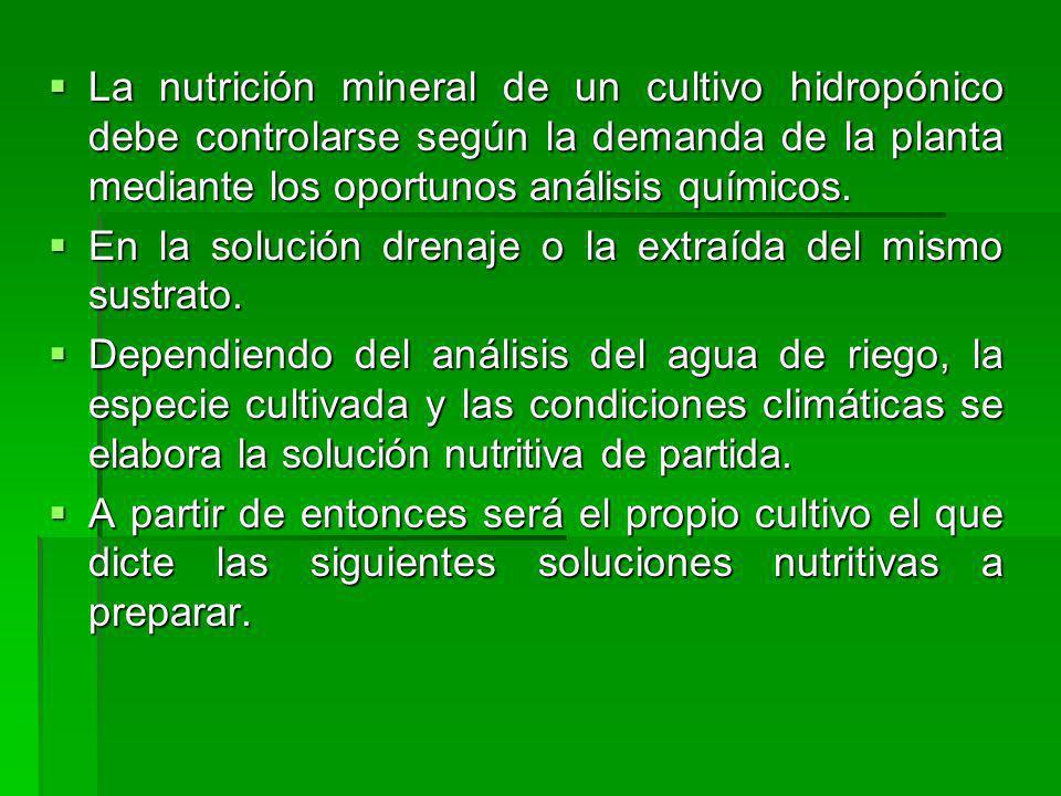 La nutrición mineral de un cultivo hidropónico debe controlarse según la demanda de la planta mediante los oportunos análisis químicos. La nutrición m