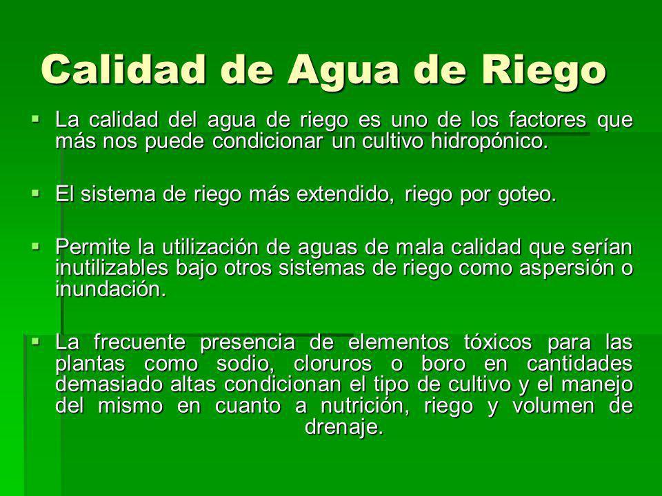 Calidad de Agua de Riego La calidad del agua de riego es uno de los factores que más nos puede condicionar un cultivo hidropónico. La calidad del agua