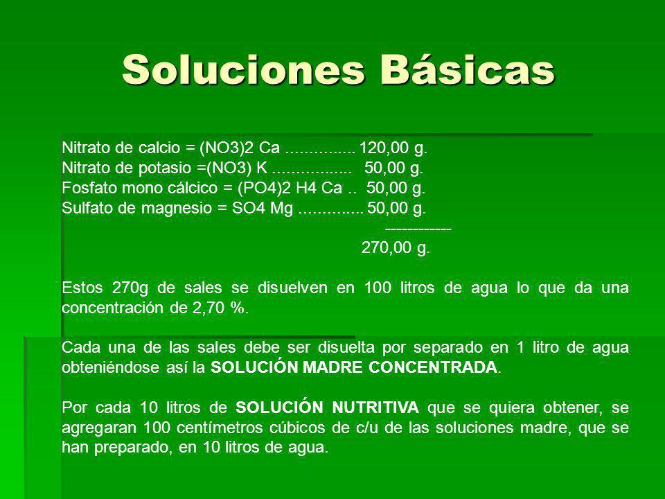 Soluciones Básicas Nitrato de calcio = (NO3)2 Ca............... 120,00 g. Nitrato de potasio =(NO3) K................. 50,00 g. Fosfato mono cálcico =
