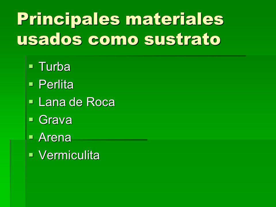 Principales materiales usados como sustrato Turba Turba Perlita Perlita Lana de Roca Lana de Roca Grava Grava Arena Arena Vermiculita Vermiculita