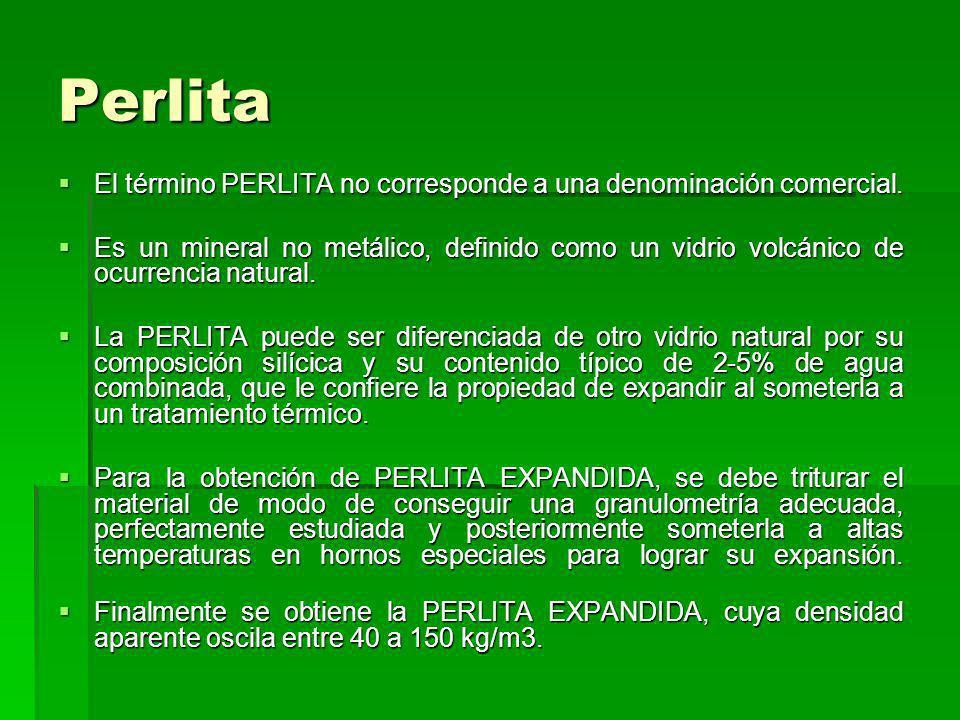 Perlita El término PERLITA no corresponde a una denominación comercial. El término PERLITA no corresponde a una denominación comercial. Es un mineral