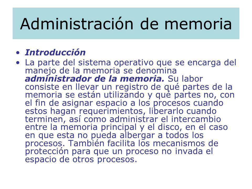 Administración de memoria Introducción La parte del sistema operativo que se encarga del manejo de la memoria se denomina administrador de la memoria.