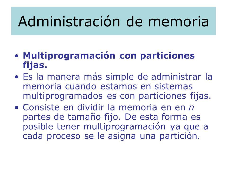 Administración de memoria Multiprogramación con particiones fijas. Es la manera más simple de administrar la memoria cuando estamos en sistemas multip